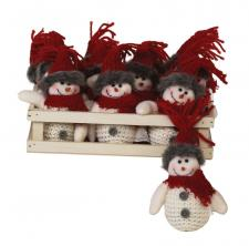 12 pc Plush Red Knit Hat Snowman Ornament w/Crate