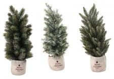 3 Asst Lg Frosted Tree w/Burlap Bag