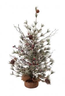 Lg Frosted Tree w/Pinecone & Red Berry