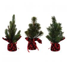 3 Asst Sm Pine Tree w/Red/Black Plaid Base