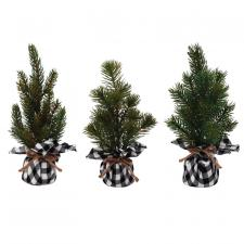 3 Asst Sm Pine Tree w/White/Black Plaid Base