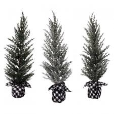 3 Asst Lg Pine Tree w/White/Black Plaid Base