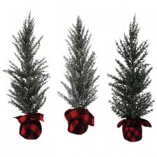 3 Asst Lg Pine Tree w/Red/Black Plaid Base