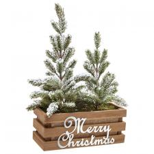 Christmas Tree in Wooden Pot
