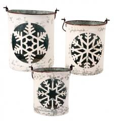 S/3 White Metal Snowflake Bucket