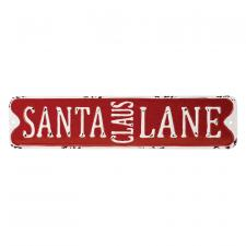 Metal SANTA CLAUS LANE Sign