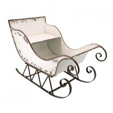 Lg White Metal Sleigh - SPECIAL BUY! Original Price $90.00