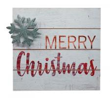 Wood/Galvanized MERRY CHRISTMAS Block Sign