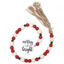 Tassle Garland w/Red/Wht Beads