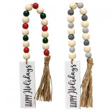 2 Asstd Happy Holidays Tassle Garland w/Beads