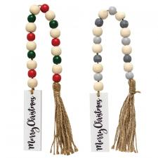 2 Asstd Merry Christmas Tassle Garland w/Beads