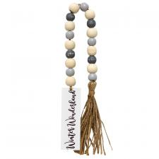 Winter Wonderland Tassle Garland w/Grey/Wht Beads