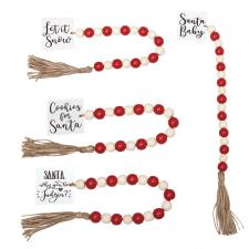 4 Asstd Tassle Garland w/Red/Wht Beads