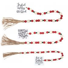 3 Asstd Lg Tassle Garland w/Red/Grn Beads