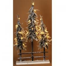 3 Flocked Trees w/LED Light - SPECIAL BUY! Original Price $5