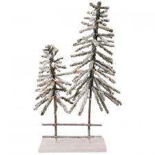 2 Flocked Trees w/LED Light - SPECIAL BUY! Original Price $2