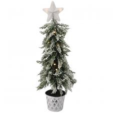Frosted Christmas Tree w/Star in Galvanized Bucket - SPECIAL