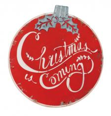 Wooden CHRISTMAS IS COMING Ball Hanger