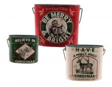 S/3 Metal MERRY & BRIGHT Bucket