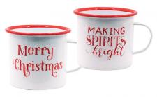 2 Asst Metal MAKING SPIRITS BRIGHT/MERRY CHRISTMAS Mug