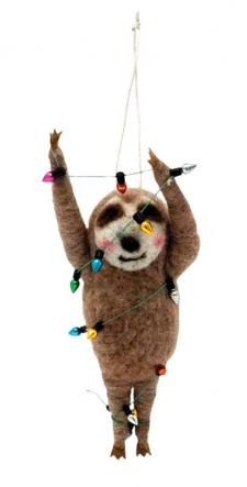 Felted Christmas Party Sloth Ornament