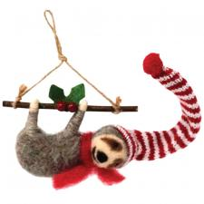 Felted Sloth w/Branch Ornament