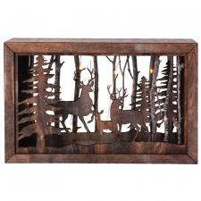 Lg Wooden Deer Scene w/LED Timer Light - SPECIAL BUY! Origin