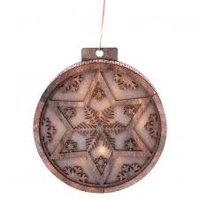 Round Wooden Ornament w/LED Light - SPECIAL BUY! Original Pr
