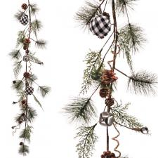 Pine Garland w/Black/White Plaid Ball