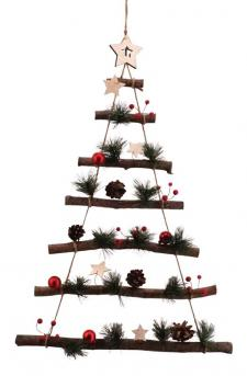 Med Twig Christmas Tree Wall Hanger w/Red Ball