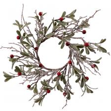 Med Frosted Wreath w/Red Berry