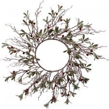 Lg Frosted Wreath w/Red Berry