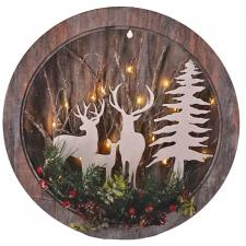 Lg Round Cut Out Deer Scene w/LED Light - SPECIAL BUY! Origi