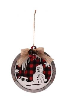 Round Wooden Red/Black Plaid Snowman Scene Ornament