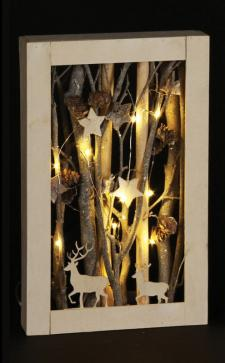 Deer Scene Frame w/LED Light