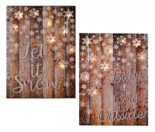 2 Asst BABY ITS COLD/LET IT SNOW Sign w/LED Light