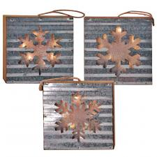 3 Asst Galvanized Snowflake Block Ornament w/LED Light