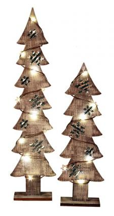 Lg Wood/Galvanized Snowflake Tree w/LED Light