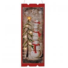 Wooden LET IT SNOW Sign w/LED Light
