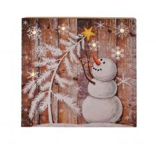 Sm Wooden Snowman Sign w/LED Light