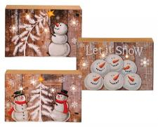 3 Asst Wooden Snowman Block w/LED Light