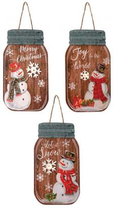 3 Asst Wooden Snowman Mason Jar Ornament w/LED Light