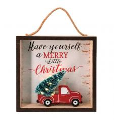 Wooden MERRY CHRISTMAS Sign w/Truck & LED Light