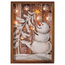 Wooden Snowman Sign w/LED Light