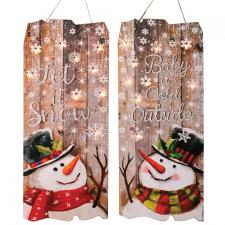 2 Asst Wooden Snowman Sign w/LED Light