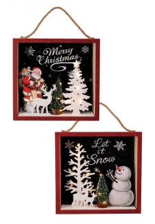 2 Asst Snowman/Santa Square Frame w/LED Light