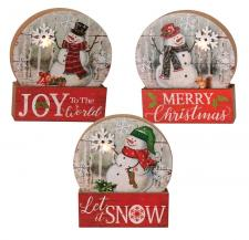 3 Asst Snowman Christmas Snow Globe Block w/LED Light