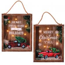 2 Asst MERRY CHRISTMAS/HOME SWEET HOME Sign w/Truck & LED Li