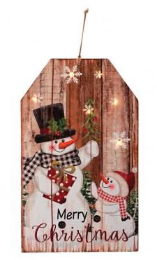 2 Asst Lg Wooden Snowman Tag Ornament w/LED Light