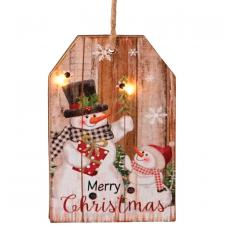 2 Asst Sm Wooden Snowman Tag Ornament w/LED Light